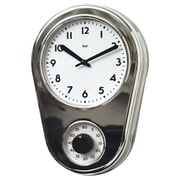 Bai Design 8.5'' Kitchen Timer Retro Modern Wall Clock; Chrome Silver