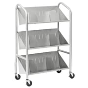 Buddy Products Sloped-Shelf Book Cart; Silver