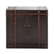 Woodland Imports Gothic Wood / Leather Cabinet