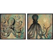 PTM Images Coastal Octopus 2 Piece Framed Graphic Art Set