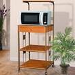 Hazelwood Home Microwave Cart with Wood Top I; Cherry