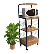 Hazelwood Home Microwave Cart with Wood Top I; Black