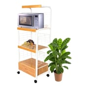 Hazelwood Home Microwave Cart with Wood Top I; White