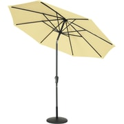 Secret Garden 9' Matte Black Push Buttom Tilt Market Umbrella; Wheat