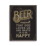 Click Wall Art Beer Is Proof That God Loves Us Textual Art Plaque in Brown; 20'' H x 16'' W x 1'' D