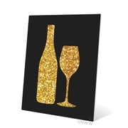 Click Wall Art Sparking Wine and Bottle Silhouette Graphic Art; 20'' H x 16'' W x 0.04'' D
