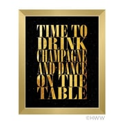 Click Wall Art Time To Drink Champagne Framed Textual Art in Gold; 13'' H x 11'' W x 1'' D