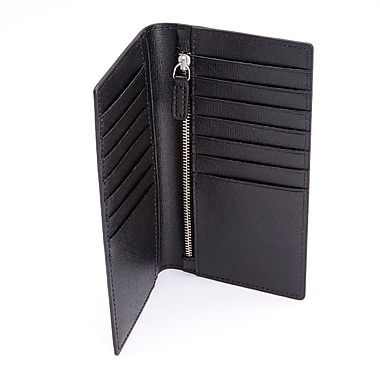 Royce Leather RFID Blocking Bifold Credit Card Wallet in Italian Saffiano Genuine Leather