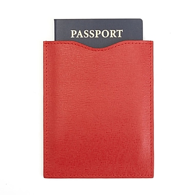 Royce Leather RFID Blocking Passport Sleeve in Italian Saffiano Leather, Red