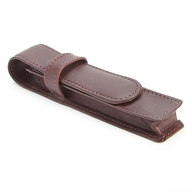Royce Leather 1 Slot Single Fountain Pen Case in Genuine Leather, Burgundy