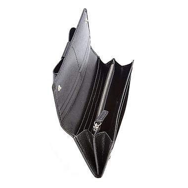 Royce Leather – Portefeuille anti-RFID, grande boucle, véritable cuir italien Saffiano, noir