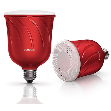 Sengled Pulse Dimmable LED Light with Wireless Bluetooth Speakers (Pair) (Master & Satellite), Powered by JBL, Candy Apple