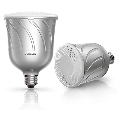Sengled Pulse Dimmable LED Light with Wireless Bluetooth Speakers (Pair), Powered by JBL, Pewter