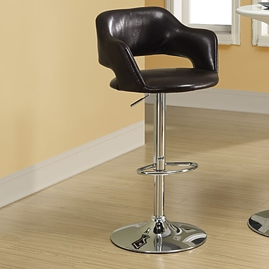 Monarch Specialties Inc. Adjustable Height Swivel Bar Stool with Cushion; Dark Brown