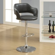 Monarch Specialties Inc. Adjustable Height Swivel Bar Stool with Cushion; Charcoal Grey