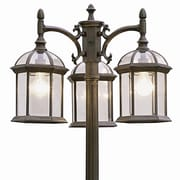 TransGlobe Lighting Outdoor 3 Light 79'' Post Light; Swedish Iron