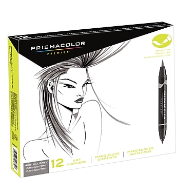 PrismaColour Premier Double Ended Brush Tip and Fine Tip Art Markers, Neutral Grey, 12/Pack
