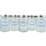 Graham Field Glass Sundry Jar, Labeled, 5/Pack