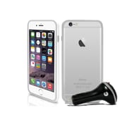 Macally BRIMP6LW Flexible Protective Frame for Use with iPhone6 Plus, White, CarChgr