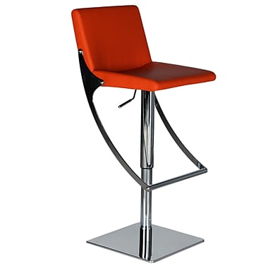 Bellini Modern Living Sonic Adjustable Height Swivel Bar Stool with Cushion; Red