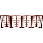 Oriental Furniture 24'' x 96'' Window Tall Desktop Pane Shoji 8 Panel Room Divider; Rosewood