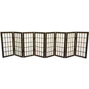 Oriental Furniture 24'' x 96'' Window Tall Desktop Pane Shoji 8 Panel Room Divider; Walnut