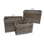 Cheungs 3 Piece Lined Wire Storage Basket Set