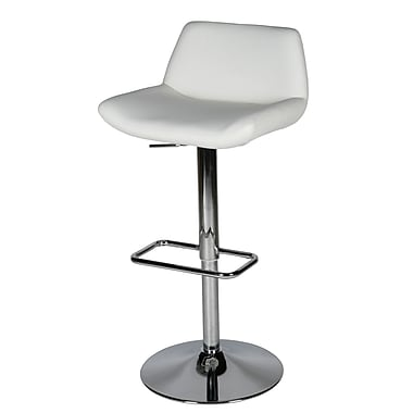 Whiteline Imports Maya Adjustable Height Swivel Bar Stool; White