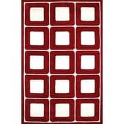 American Home Rug Co. Modern Living Deco Blocks Red/White Rug; 3'6'' x 5'6''