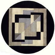 Momeni New Wave Black/Gray Area Rug; Round 5'9''