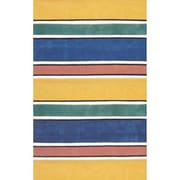 American Home Rug Co. Beach Rug Bright Yellow Ocean Stripes Area Rug; Runner 2'6'' x 12'