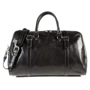 Tony Perotti Milano 18'' Italian Leather Weekender Duffel; Black