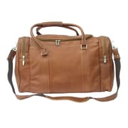 Piel 20'' Leather Classic Carry-On Duffel; Saddle