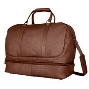 David King 20'' Leather Bottom Compartment Travel Duffel; Caf  / Dark Brown