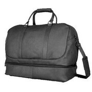 David King 20'' Leather Bottom Compartment Travel Duffel; Black