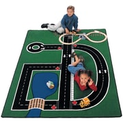 Carpets for Kids Theme Neighborhood Road Green Area Rug; 4'1'' x 5'10''