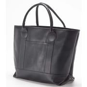 Clava Leather Colored Vachetta Nantucket Tote Bag; Vachetta Black