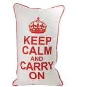 lava Keep Calm Throw Pillow; Red on White