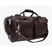 Piel Traveler 20'' Leather Travel Duffel with Pockets on Wheels; Chocolate