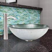 Vigo Simply Silver Glass Vessel Bathroom Sink and Otis Vessel Faucet w/ Pop Up