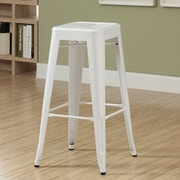 Monarch Specialties Inc. Cafe 30'' Bar Stool (Set of 2); White Glossy