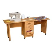 Venture Horizon VHZ Office 70'' W Mobile Craft Double Desk; Oak