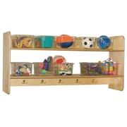 Wood Designs Ten Hook Open Face Wall Locker; Clear Tray