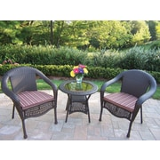 Oakland Living Resin Wicker 3 Piece Lounge Seating Group Set; Brown