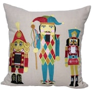 Xia Home Fashions Classic Christmas Nutcracker Embroidered Holiday Linen Throw Pillow; Feather Fill