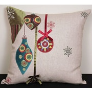 Xia Home Fashions Noel Ornaments Embroidered Holiday Linen Throw Pillow; Feather
