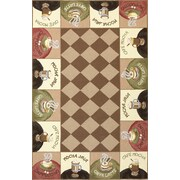 KAS Rugs Colonial Coffee Wake-Up Call Novelty Rug; Oval 2'6'' x 4'6''