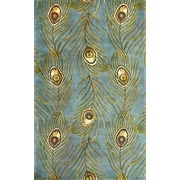 KAS Rugs Catalina Blue Peacock Feathers Novelty Area Rug; 5' x 8'