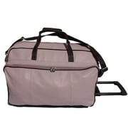 Piel Pastel Leather 21'' 2 Wheeled Carry-On Duffel; Pastel Pink w/ Chocolate trim