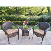 Oakland Living Resin Wicker 3 Piece Lounge Seating Group Set; Green